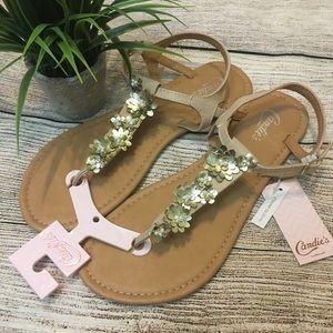 Size 7-8 Candies Metallic Floral T-Strap Sandals